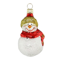 Snowman With Red Scarf & Hat