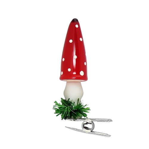 German Blown Glass Clip-On Mushroom Ornament