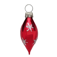 Mini Gloss Red & Silver Star Teardrop Olive