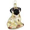 Blown Glass Pug Dog Ornament
