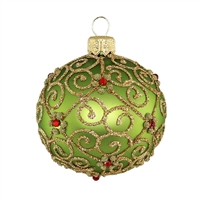Ball GreenMatt - Gold & Red Stones  2.2""
