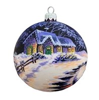 Handpainted Purple & Creme Sphere With Winter Scene