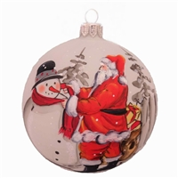 Santa Helping Snowman Handpainted Ball