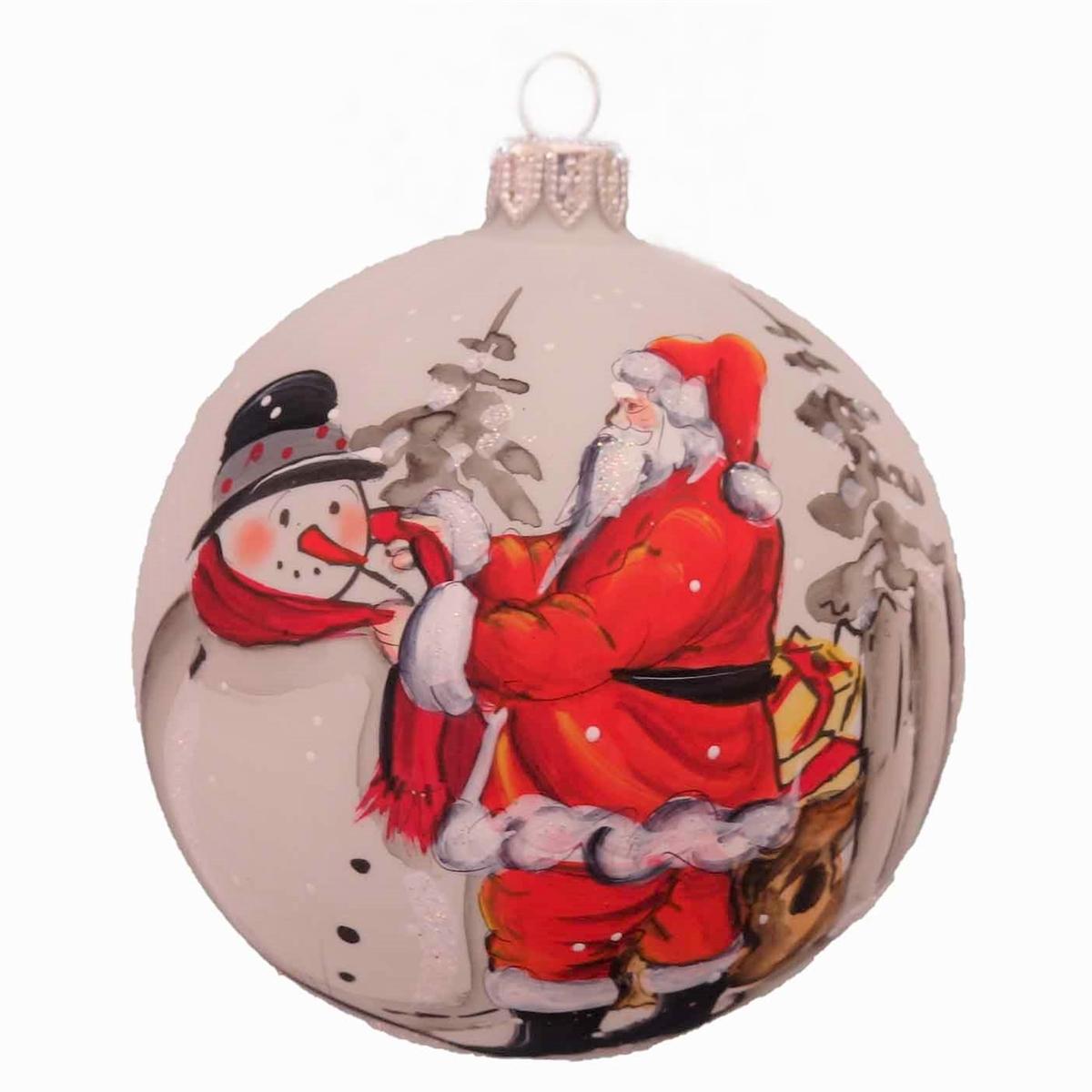 Santa Helping Snowman Handpainted Ball