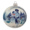 Handpainted, Blown Glass Ball With Snowman & Winter Scene