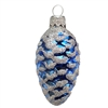 European Med. Blue Pine Cone With Silver Glitter