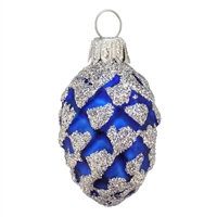 European Blue Pine Cone With Silver Glitter
