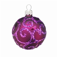 European Royal Purple Glitter Swirl Ball