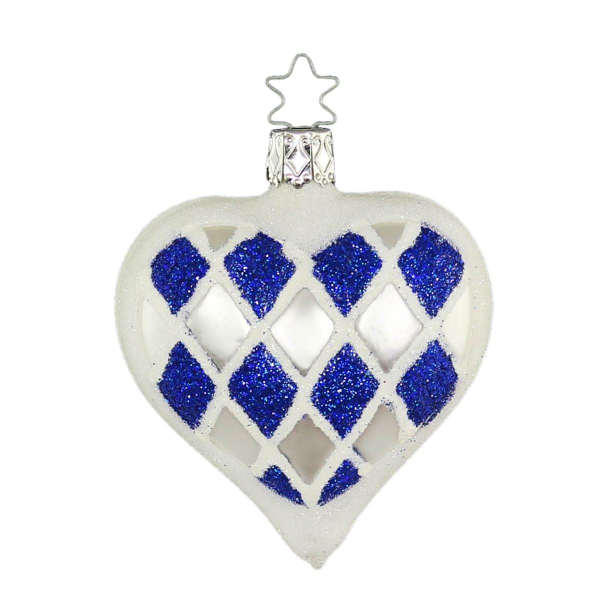 BLUE INGE GLAS BAVARIA HEART FLAG MUNICH GERMAN BLOWN GLASS CHRISTMAS ORNAMENT