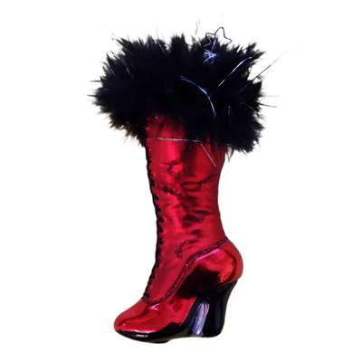 Inge Glas Red Boot with Black Fur