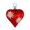 Inge Glas Red Heart with Edelweiss