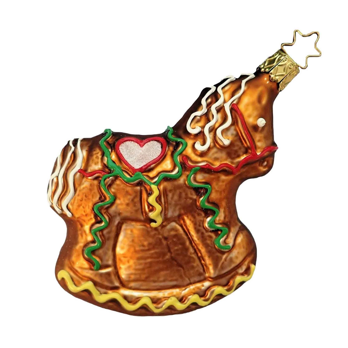 Inge Glas German Blown Glass Gingerbread Rocking Horse Christmas Ornament X Mas Decorations