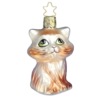 Inge Glas Tan & White Cat Kitten Ornament
