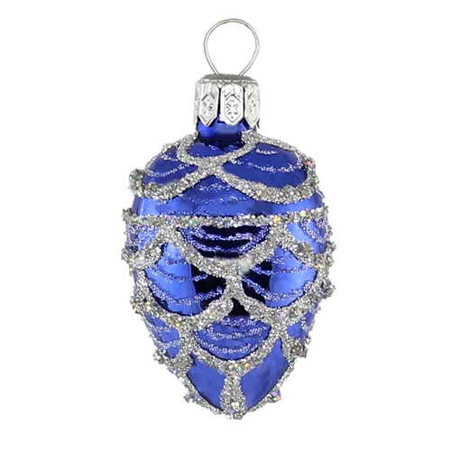 Blue Silver Faberge Inspired Egg