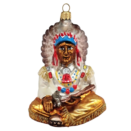 Sitting Indian Chief Ornament