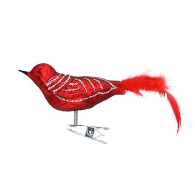 Medium Red Matt Silver Bird