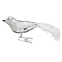 Medium Clip-On Gloss Silver Bird