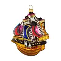 Wood Tall Ship Sailboat Ornament