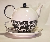 Black and White Nouveau Chic Tea for One Pot