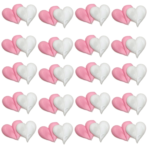 Pink & White Double Hearts Icing- 120/CS