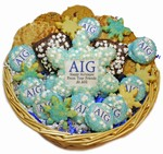 Custom Logo Winter Goodies® Holiday Cookie Basket -36 pc & A Sugar Snowflake Cookie Card
