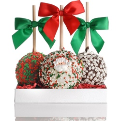 PETITE CHRISTMAS CARAMEL CHOCOLATE GOURMET APPLE TRIO- GIFT SET OF 3