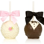 Chocolate Bride & Groom Favor Apples Set of 2