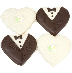 Bride & Groom Chocolate Heart Cookies