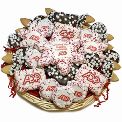 Custom Logo Snowflakes Holiday Cookie Basket -36 pc & A Sugar Snowflake Cookie Card