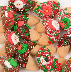 "Christmas Hand-Dipped & Decorated Gourmet Fortune Cookies- Individually Wrapped ""Bulk"""