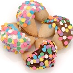 "Festive Confetti Hand-Dipped Gourmet Fortune Cookies- INDIVIDUALLY WRAPPED ""BULK"""