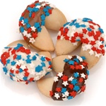 "Patriotic Confetti Hand-Dipped Gourmet Fortune Cookies- INDIVIDUALLY WRAPPED ""BULK"""