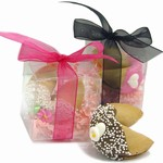 Wedding Fortune Cookies -Individually Wrapped & Gift Boxed with Ribbon- Clear Acetate Boxes