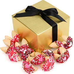 Romantic Hand Dipped & Decorated Gourmet Fortune Cookies- Gift Box of 12