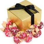 Romantic Hand Dipped & Decorated Gourmet Fortune Cookies- Gift Box of 48