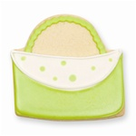 Designer Purse Cookie Favor- Kiwi Green and White
