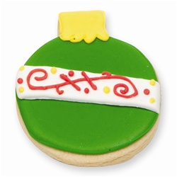 Green Christmas Ornament Cookie Favor