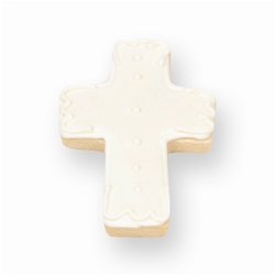 White Christening Cross Cookie Favor