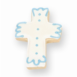 Blue Accents Christening Cross Cookie Favor
