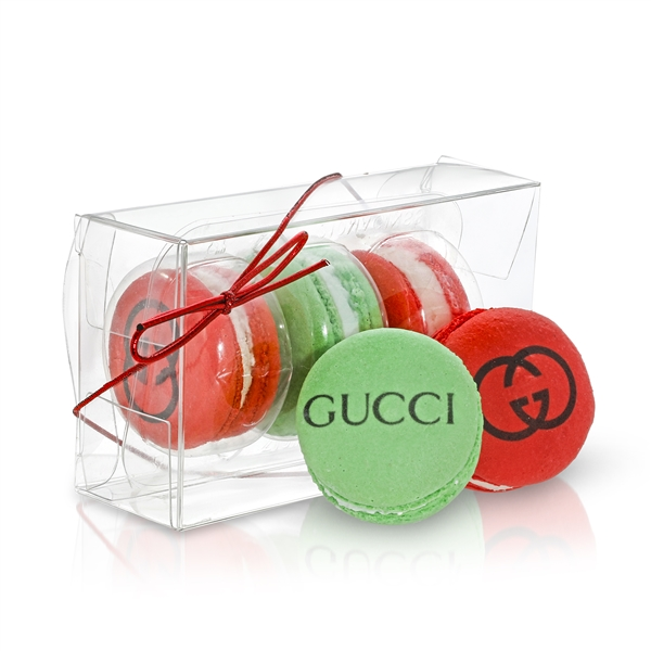 Clear Acetate Gift Box of 3 Macarons with Branded Custom Sleeve Option