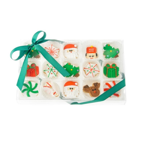 Christmas Celebration Mini Cookie Clear Gift Box- 15 pc