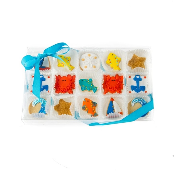 Nautical Celebration Mini Cookie Clear Gift Box- 15 pc