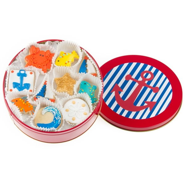 Nautical Mini Cookie Tin of 16