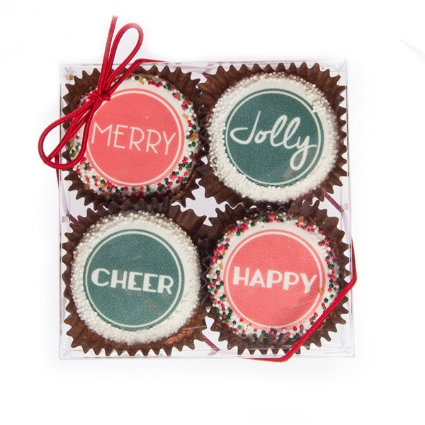Edible Print (TM) Christmas Clear Box of 4 Oreos