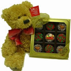 Box of 9 Christmas Decorated Oreos and Large Teddy Bear