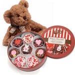 Tin of 16 Chocolate Valentine Oreos® & Lil' Russ® Bear