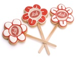 "Picture Sugar Cookies on stick 3"" DAISIES- INDIVIDUALLY WRAPPED"