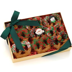 Christmas Chocolate Pretzel Twists, Box of 9