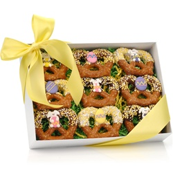 Easter Chocolate Dipped Pretzel Twists, Clear View Gift Box of 9