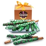 St. Patrick's Day Belgian Chocolate Pretzel Wands- Gourmet Gift Box